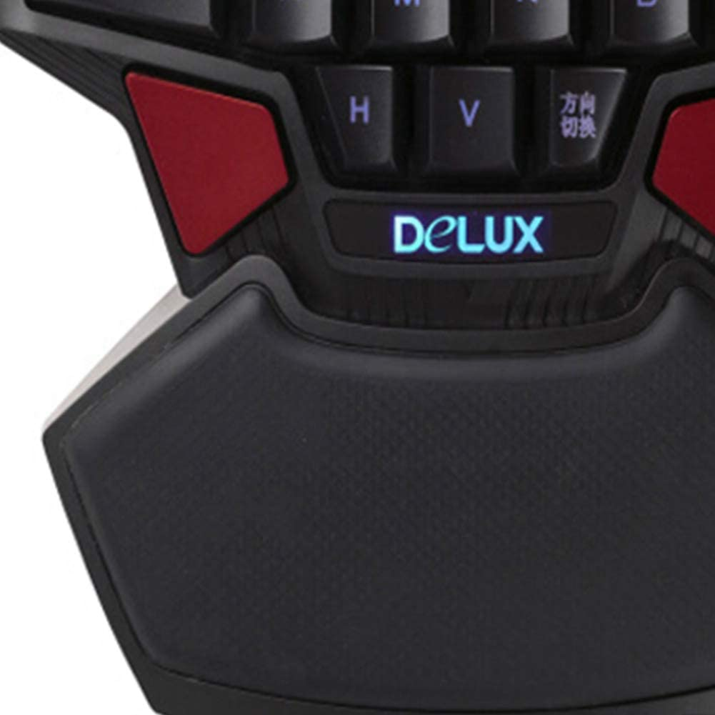 FAgdsyigao Portable One-Hand 47 Keys Wired Gaming Keyboard Double Space Button USB Keypad Keyboards Black red
