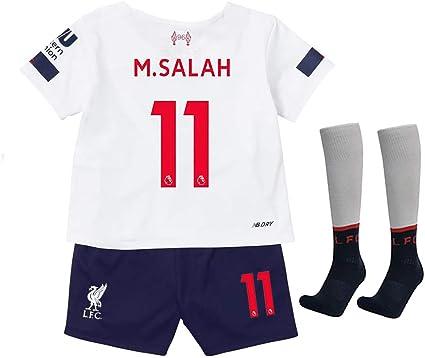 evehoo 2019//2020 Season Home 11 Salah Liverpool Kids//Youth Soccer Jersey and Socks Red