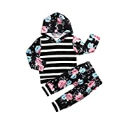 Gogoboi Toddler Infant Baby Girls Flower Long Sleeve Hoodie Tops Sweatsuit Pants Outfit Set (Black, 3-6 Months)