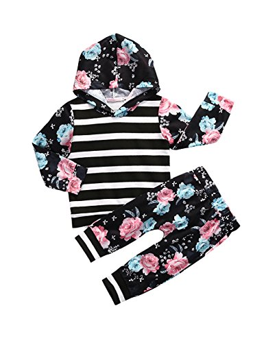 Gogoboi Toddler Infant Baby Girls Flower Long Sleeve Hoodie Tops Sweatsuit Pants Outfit Set (Black, 2-3T)