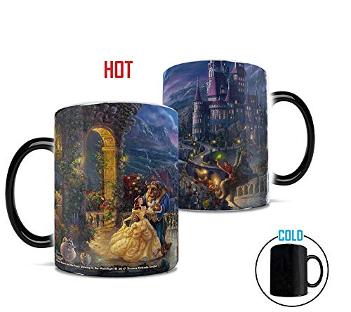 (Morphing Mugs Thomas Kinkade Disney's Beauty and the Beast Dancing in the Moonlight Painting Heat Reveal Ceramic Coffee Mug - 11)