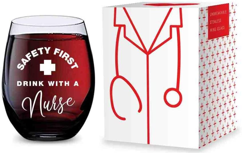 Stemless Wine Glass for Nurses (Safety First Drink With A Nurse) Made of Unbreakable Tritan Plastic - 16 ounces