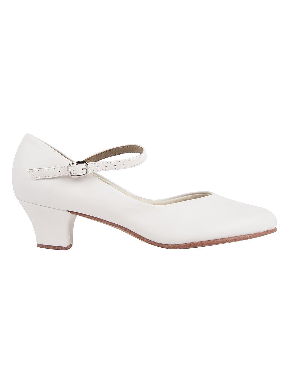 TALLA 38 EU. So Danca CH50 zapato carácter suela y tacón de cuero Salsa Rumba Tango Latino Baile de Salón color blanco con pin gratuito