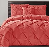 4 Piece Pink Luxury Pintuck Pattern Comforter Queen Set, Beautiful Coral Diamond Tufted Bedding Pinch Pleat Pin Tuck Simple Design, For Master Bedrooms, French Country Style, Solid Color, Polyester