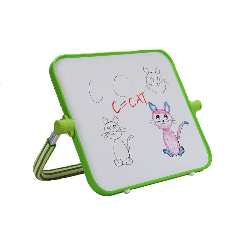Tablero de Dibujo para niños Caballete de Soporte magnético de Doble Cara, Pizarra de hogar multifunción Pizarra de Graffiti pequeña (Color : Green)