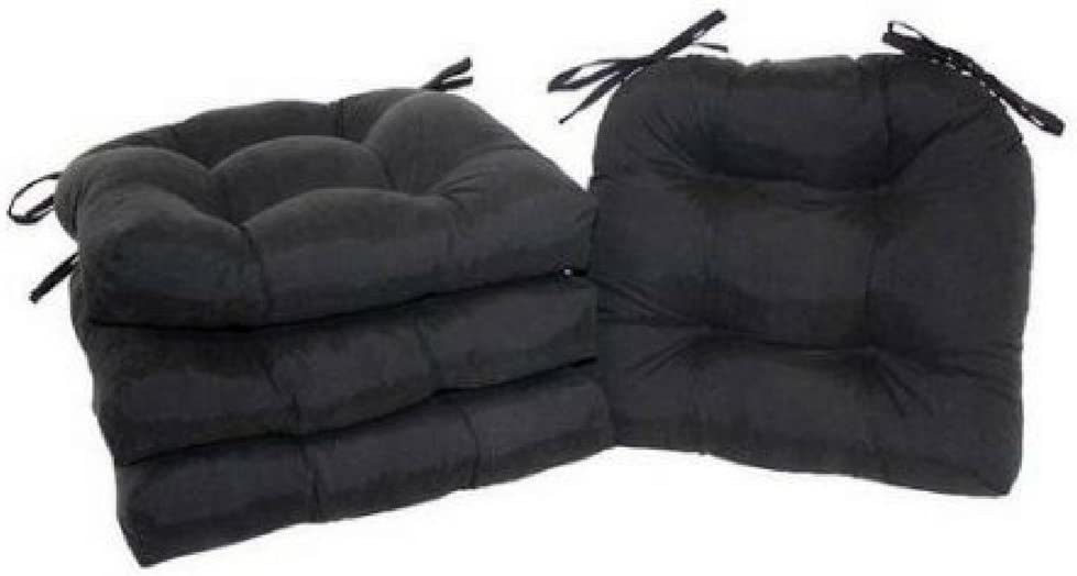 Rich Black Mainstays Faux Suede Chair Pad with Ties Multiple Colors Set of 4