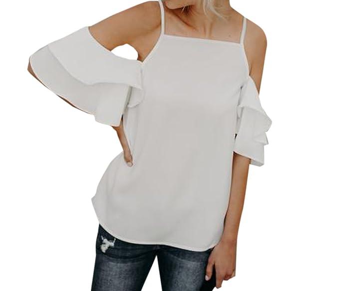 Freestyle Verano Mujeres Blusa de Hombro Frío Joven Moda Camisas de Tirantes Tops Casual Lado de