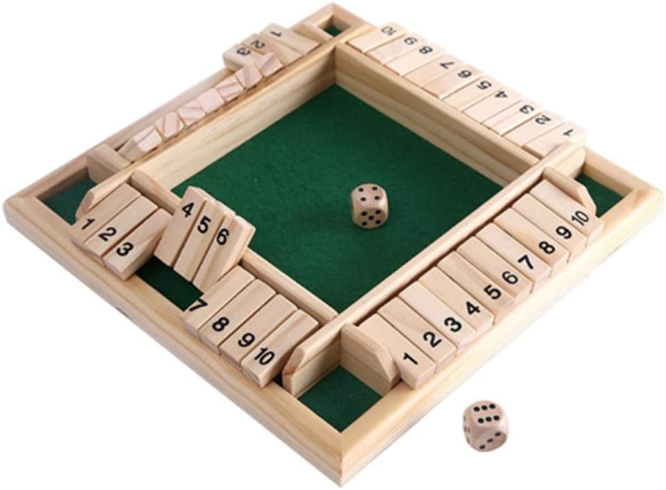 Lingxuinfo Wooden Shut The Box Game, 4 Sided 10 Numbers Board Game Tabletop Pub Game for Learning Numbers, Addition and Probability