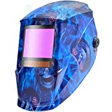 Antra AH7-X90-6403 TOP Optical Class 1/1/1/1 Digital Controlled Solar Powered Auto Darkening Welding Helmet Wide Shade 4/5-9/9-13 With Grinding Feature Extra Lens CoversGreat for TIG, MIG, MMA, Plasma