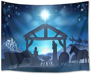 HVEST Jesus Starry Sky Tapestry Nativity Scene Tapestry Jesus Christ Born in Manger Wall Hanging Christian Believers Wise Men Tapestries for Bedroom Living Room Dorm Decor,60Wx40H inches