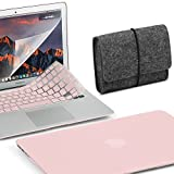 GMYLE 4 in 1 MacBook Air 13 Bundle Rose Quartz Matte Set Plastic Hard Case Cover, Felt Storage Pouch Bag with Keyboard Skin, Screen Protector for MacBook Air 13 inch (A1369/A1466)