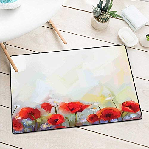 Watercolor Flowerpoppies in Spring Meadow with Wildflowers Color Painting Catch Dust Snow and Mud (W19.7 X L31.5 inch,Scarlet Pale Yellow Purple)