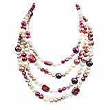 (US) Long Rope Multi-Colored and Shape Genuine Pearl Women Necklace (64 Inches)