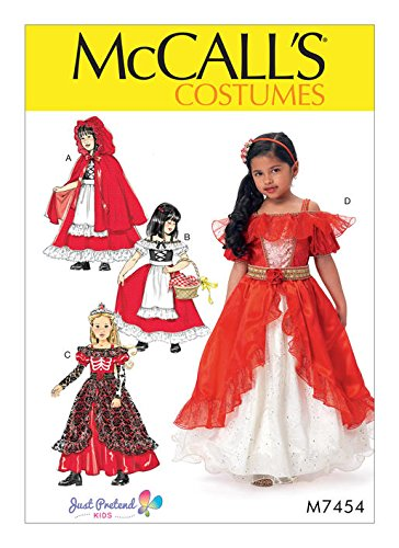[MCCALLS M7454 (Size 3-8) Children's/Girls' Dress-Up Costumes with Attached Petticoat and Cape] (Peasant Halloween Costumes)