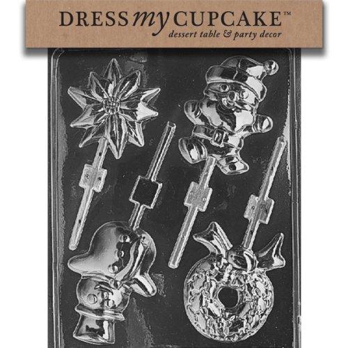 Dress My Cupcake DMCC039 Chocolate Candy Mold, Assorted Lollipop, Christmas, Santa, Snowman, Wreath, Snowflake