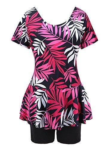 Knaspor Women's Leaf Print Skirted Swimwear One Piece Swimsuit (10-12, Rose (Red Leaf Print)