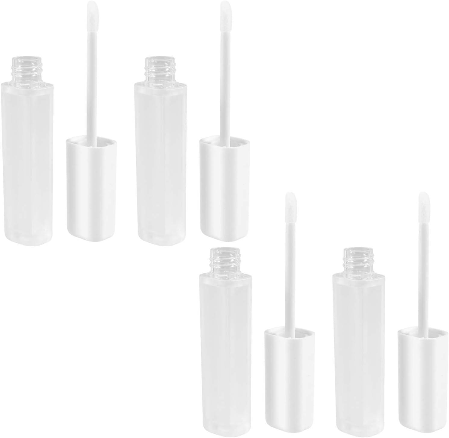 PIXNOR 4 Piezas de Tubos de Brillo de Labios Vacíos Botellas de Bálsamo Labial Reutilizables Recargables Envase de Muestras de Labios de Plástico con Varita para Maquillaje DIY Lápiz