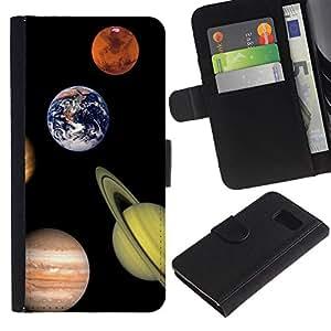 EJOY---La carpeta del tirón la caja de cuero de alta calidad de la PU Caso protector / Samsung Galaxy S6 / --Espacio Planet Galaxy Estrellas 6