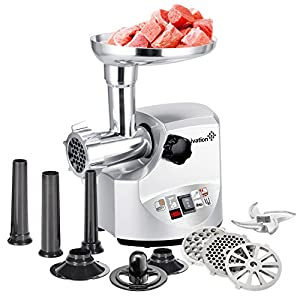 Ivation 1800 Watt Electric Meat Grinder Mincer, Sausage Maker/Heavy Duty with 3 pcs Stainless Steel Cutting Blades, Sausage Stuffing Tubes & Kibbe Attachment