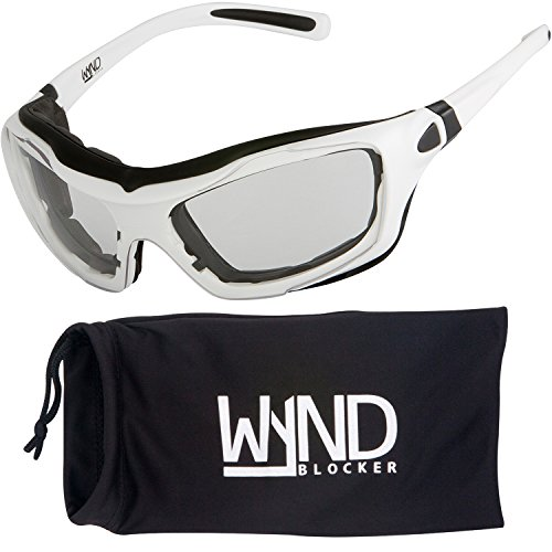 WYND Blocker Large Motorcycle Riding Glasses Extreme Sports Wrap Sunglasses, White, Clear