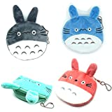 Manc GG Cute Totoro Plush Purse Pouch, mini Coin Handy Purse Zipper Wallet 4PCS Colors