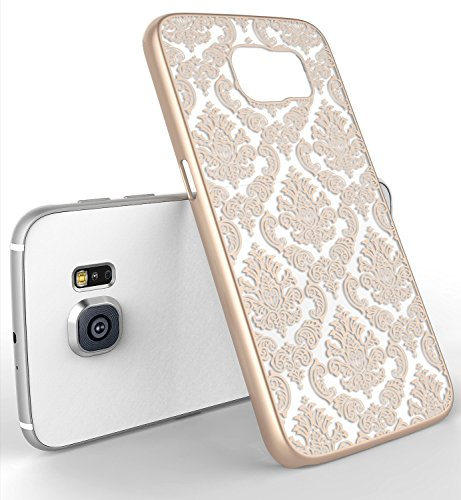 Design Rubberized Hard Case (Galaxy S5 Case, LA GO GO(TM) Beauty Damask Lace Vintage Design Rubberized Ultra Slim Coating Print Hard Hybrid Case Cover Fit for Samsung Galaxy S5 i9600 (Gold, Galaxy)
