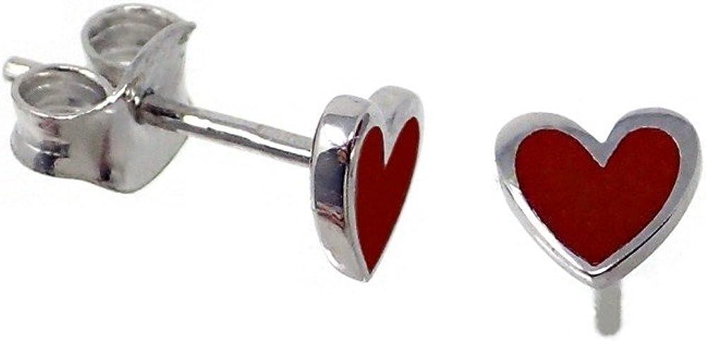 Pendientes plata Agatha Ruiz de la Prada 6mm. corazón rojo [AB7166]