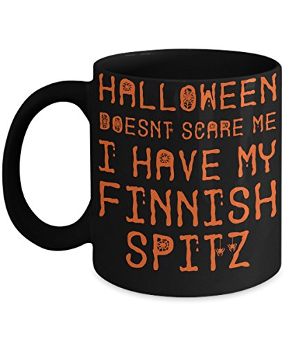 Halloween Finnish Spitz Mug - White 11oz Ceramic Tea Coffee Cup - Perfect For Travel And Gifts -