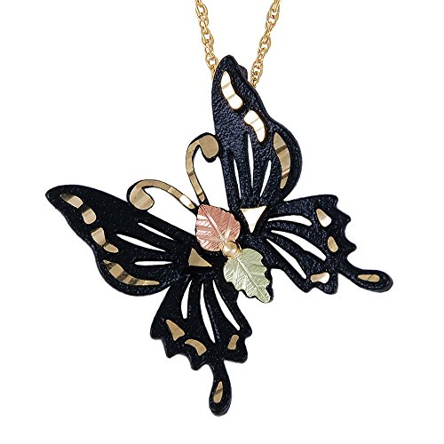 (Black Hills Butterfly Pendant with 12k Gold Leaf Accents)