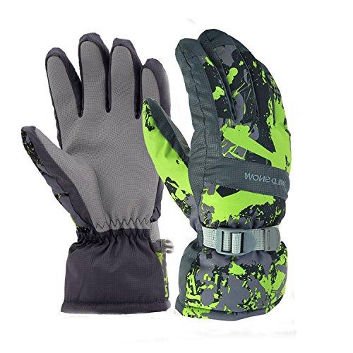 365invent Ski Gloves Waterproof Windproof Glove Winter Gloves Biking Gloves Ski Snowboard Gloves Winter Thermal Warm Snow Skiing Snowboarding Snowmobile Gloves for Men Women (Black-Green, L)