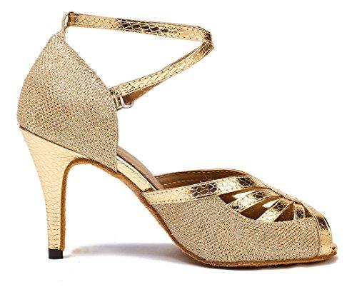 Tda Donna Peep Toe Cinturino Alla Caviglia Glitter Salsa Tango Ballroom Latino Scarpe Da Danza Moderna 8,5 Centimetri Doro