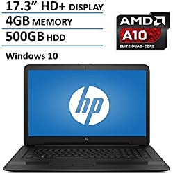 "HP Pavilion 17.3"" Laptop Computer, AMD Quad-Core A10-9600P up to 3.3GHz, 4GB DDR3 RAM, 500BB HDD, DVDRW, USB 3.0, HDMI, Bluetooth, HD Webcam, WIFI, Rj-45, Windows 10 Home"