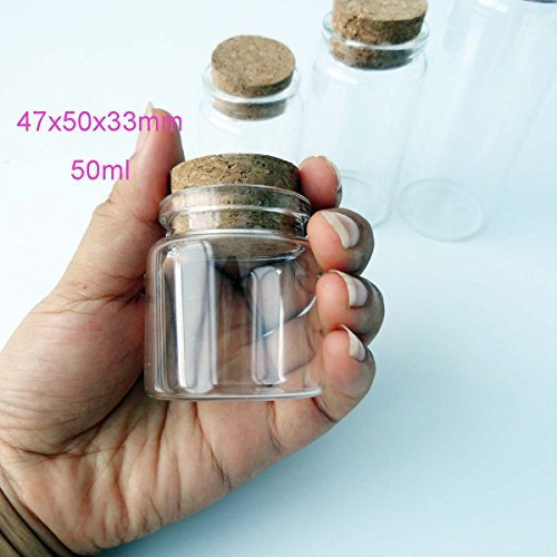 5pcs of 50 ml small glass vials with cork tops tiny bottles Little empty jars 4750mm