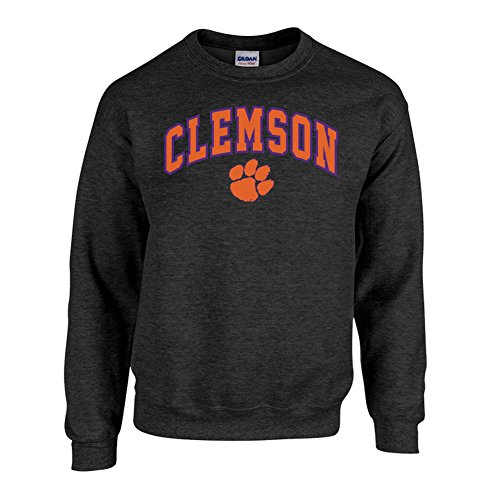 Elite Fan Shop NCAA Men's Clemson Tigers Crewneck Sweatshirt Dark Heather Arch Clemson Tigers Dark Heather X Large