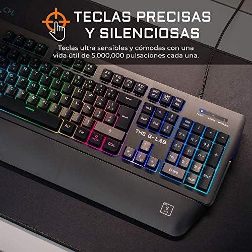 THE G-LAB Keyz PALLADIUM Teclado Gaming QWERTY Incluye Ñ - Teclado Gaming con Retroiluminación RGB Multicolor, Reposa Muñecas Magnético, Macros y ...