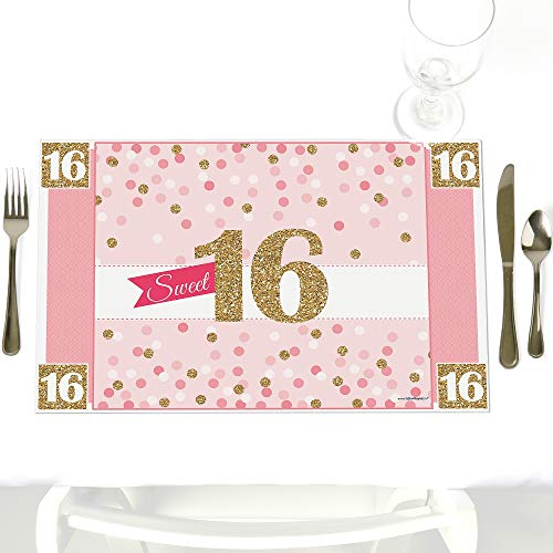 Sweet 16 - Party Table Decorations - 16th Birthday Party Placemats - Set of 12