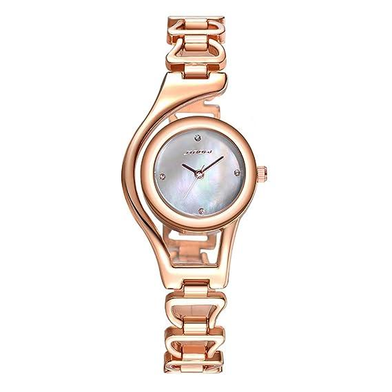 Relojes Mujer con Estrecha Reloj de la Pulsera Oro Rosa, Esfera de nácar Escala del