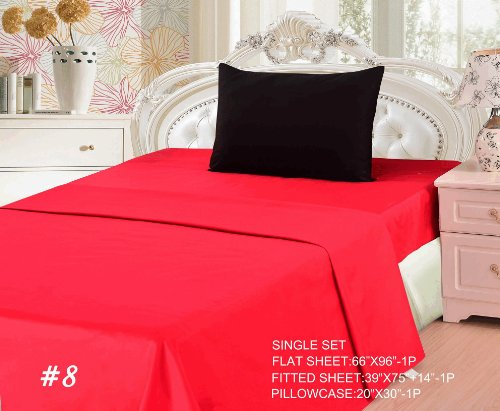 Tache 3 Piece 100% Cotton Vibrant Red and Black Bed Sheet Set-Single