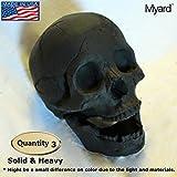 Myard Fireproof Human Fire Pit Skull Gas Logs for NG, LP Wood Fireplace, Firepit, Campfire, Halloween Decor (Qty 3, Black)