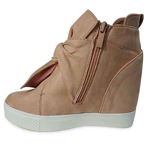 Damen Sneakers Keilabsatz Wedge High Heels High Top Turnschuhe Stiefeletten Boots ST75 ST01 Rosa