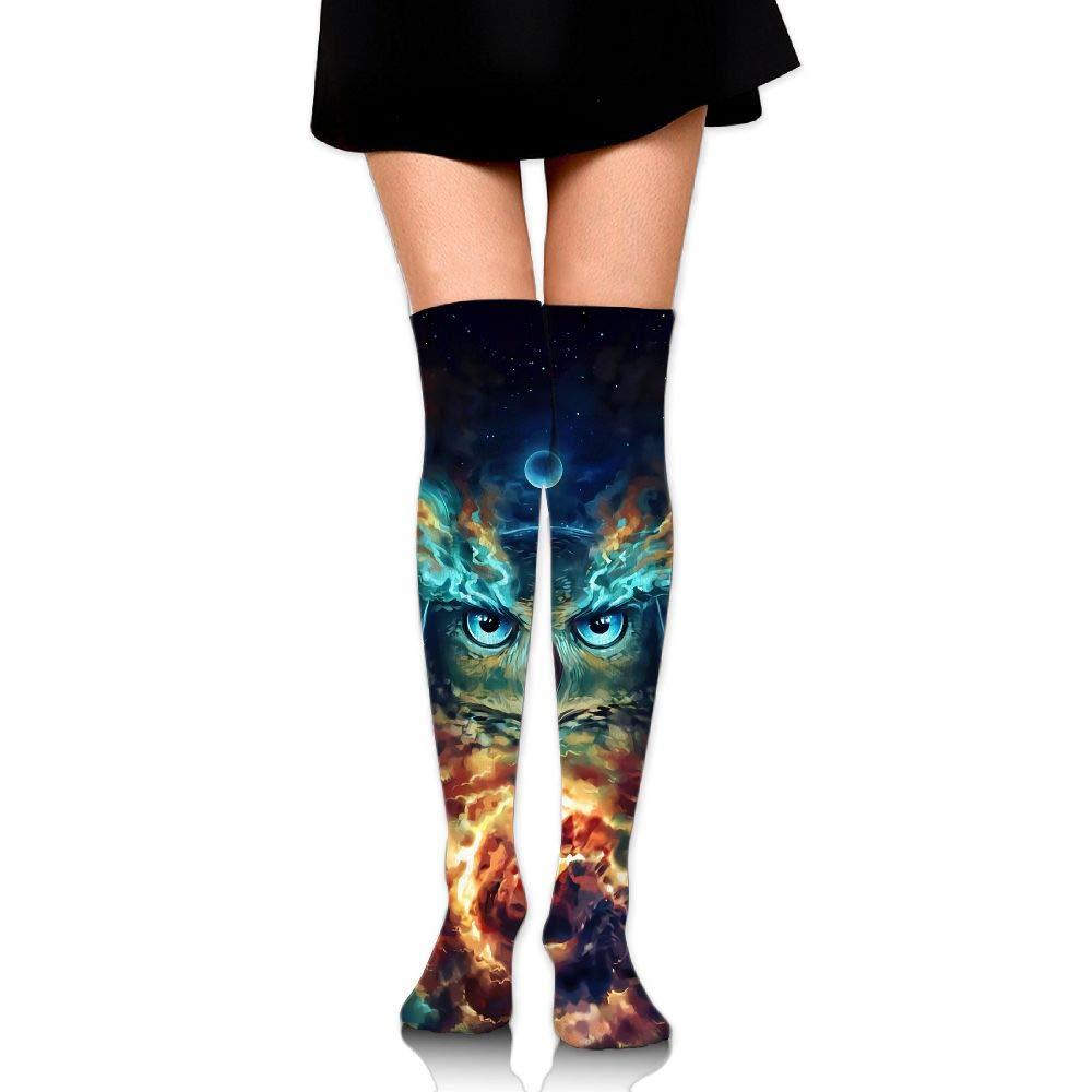 Womens//Girls Cool Galaxy Owl Casual Socks Yoga Socks Over The Knee High Socks 23.6
