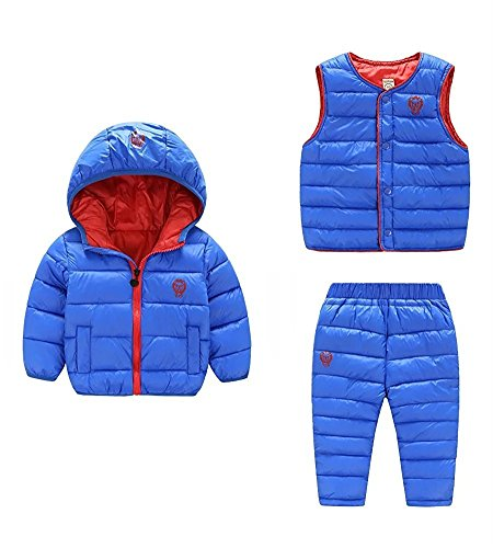 1 Ski Piece (Baby Boys Girls 3 Piece Set Winter Warm Jacket+Ski Pants+Vest Outfit Children Cotton-padded Snowsuits (1-2Years, Blue))