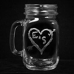 Engraved Mason Jar Mugs, Wedding Gift Ideas, Toasting Glasses, SET OF 2