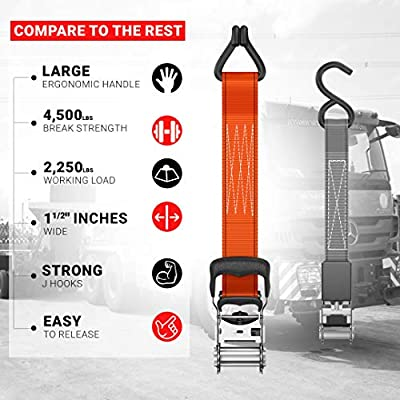 FORTEM Ratchet Tie Down Straps, Heavy Duty, 4X 15ft Securing Straps, 4X Soft Loops 4500lb Break Strength, Rubber Coated Metal Handles, Metal Hooks, Carrying Case (4 Pack): Automotive