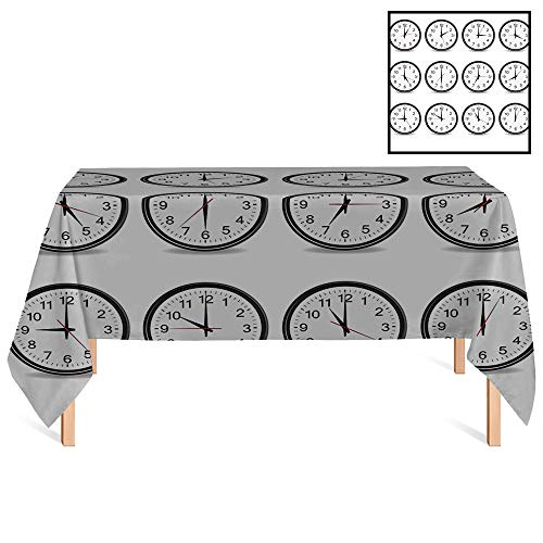 SATVSHOP Dust-Proof Table Cover /55x70 Rectangular,Clock Clocks with Numbers That Show Every Hour Illustration Hour and Minute Hand ES Black White.for Wedding/Banquet/Restaurant.