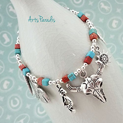 American Eagle Jewelry (Southwestern Native Charm Bracelet Silvertone with Turquoise and Coral by ArtsParadis)