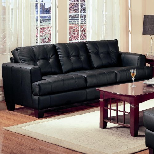 Samuel Black Leather Bonded (Samuel Collection Sofa in 100% Black Bonded Leather)