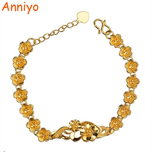 LTH12 Flowers Bracelets Women/School Girls,Gold African/Arabs Charm Gifts #007607 ()