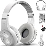 Jiijian Stereo Wireless Sports Headset with Microphone FM Radio TF Card Slot Over Ear Noise Canceling Stereo 4.1Bluetooth with3.5mm Audio Input - White