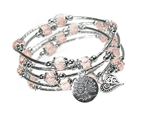 Tree of Life and Heart Charm Pink Bead 5x Wrap Silver-tone Bangle Bracelet by Beautiful Silver Jewelry
